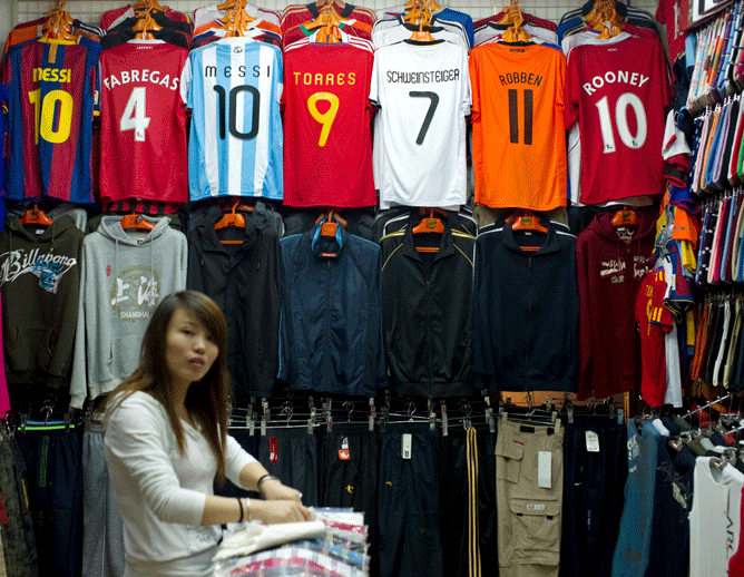 The Nanjing West Road market consists mainly of fake brand clothes, football shirts and shoes.
